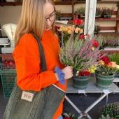 Zielony sztruksowy shopper na jesiennych zakupach na targu 🍂🍎🥮  Musisz go mieć! 🧡